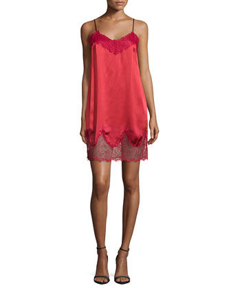 Lace & Charmeuse Slip Night Dress, Cerise
