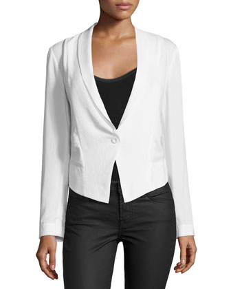 Long-Sleeve One-Button Blazer, Antique Ivoire