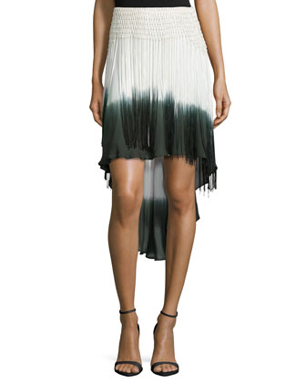 Ombre High-Low Skirt W/Fringe, Buff/Swan/Dark Military