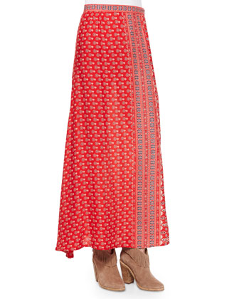 Gypsiana Off-the-Shoulder Crop Top & Maxi Skirt, Red Bandana