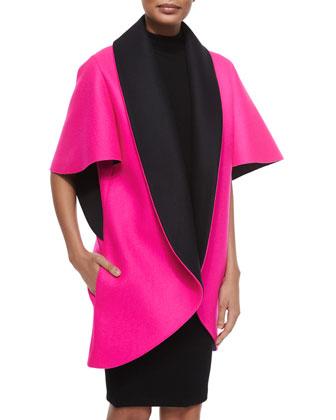 Bonded Sculptural Coat & Sleeveless Turtleneck Sheath Dress