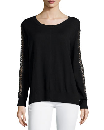 Long-Sleeve Lace-Sided Sweater, Black