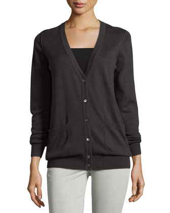 Long-Sleeve Cardigan w/Back Cutout, Dark Graphite