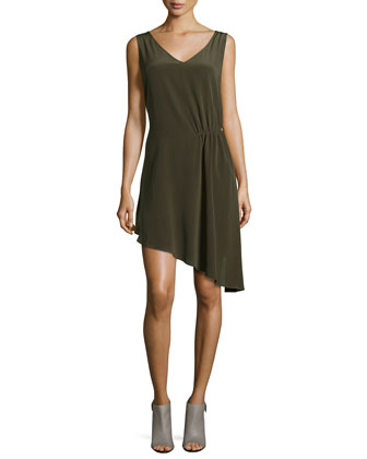 Sleeveless Asymmetric Side-Tuck Dress, Dark Military