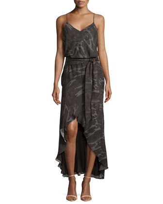 V-Neck Sleeveless High-Low Dress, Camouflage Multi
