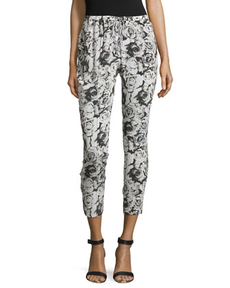 Slim Shady Floral-Print Pants, Swan/Black