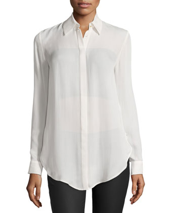 Button-Down Long-Sleeve Sheer Tunic, Swan