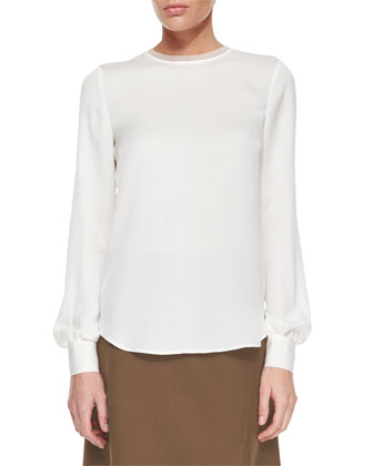 Eri Long-Sleeve Silk Blouse