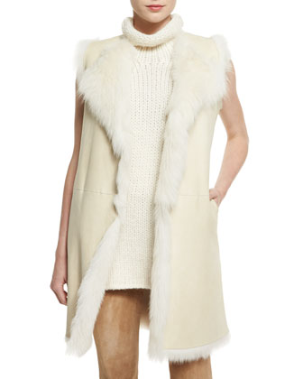 Curako B. Hollice Fur Vest, Taj Delfina Two-Tone Turtleneck Sweater & ...