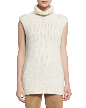 Vandrona Sleeveless Turtleneck Sweater, Ivory