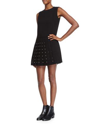 Sleeveless Studded Pleated Dress, Black