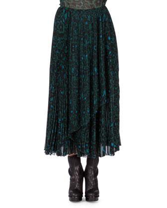 Shadow Flower Long Pleated Skirt, Bottle Green