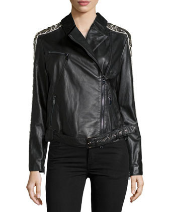 Embellished Leather Moto Jacket, Black