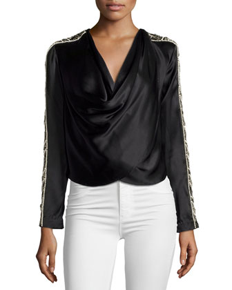 Cropped Embellished Jacket, Black