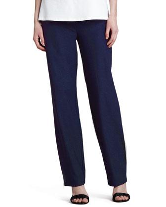 Long Washable Crepe Shawl-Collar Jacket & Slim Boot-Cut Pants, Women's