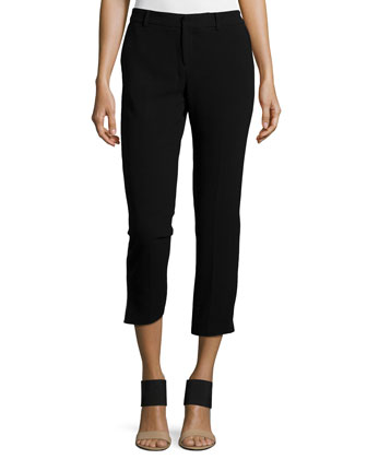 Cropped Tuxedo Pants w/Piping, Black