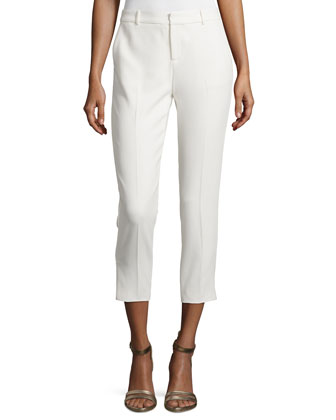 Cropped Tuxedo Pants w/Piping, Antique Ivory