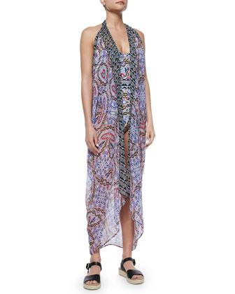 Tropical Topaz Sleeveless Kimono Coverup