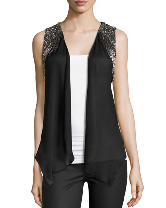 Embellished Draped-Front Vest, Black