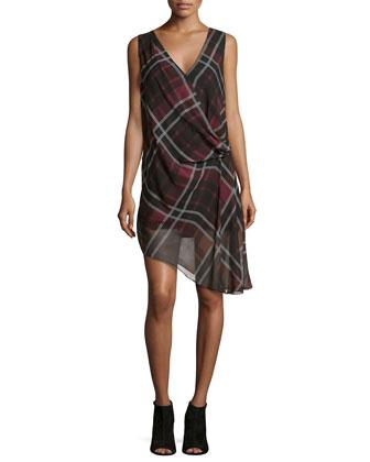 Sleeveless Plaid Crossover Dress, Burgundy Multi