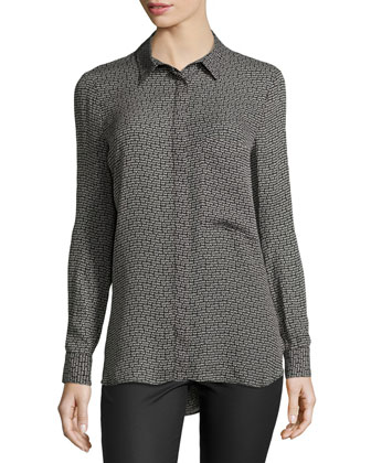 Button-Down Long-Sleeve Printed Top, Black/Buff
