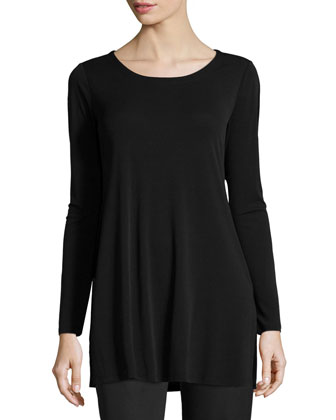 Silk Jersey Long-Sleeve Tunic, Black