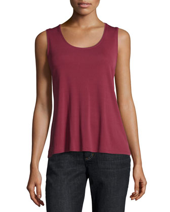 Silk-Jersey Tank Top, Passion Flower, Petite
