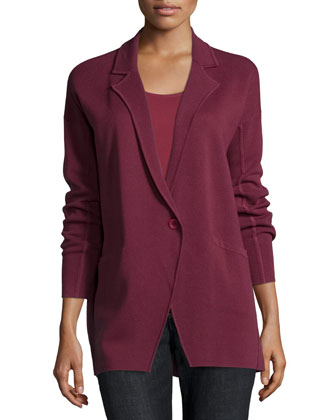 Notched-Collar Interlock One-Button Jacket