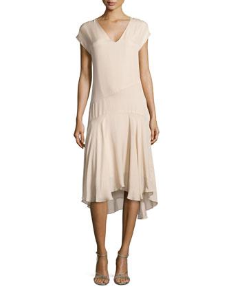 V-Neck Cap-Sleeve Chiffon Dress, Swan