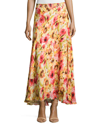 Floral-Print Maxi Skirt, Yellow Multi