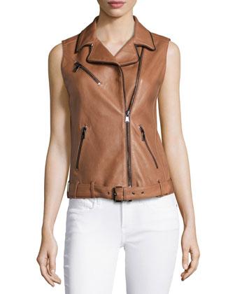 Sleeveless Leather Belted Vest, Tawny
