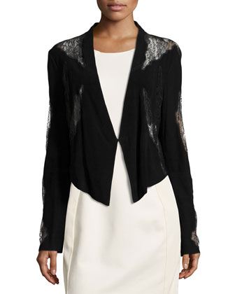 Long-Sleeve Blazer w/Lace Insets, Black