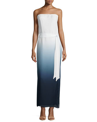 Strapless Ombre Gown, Swan/Midnight