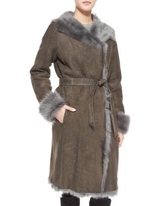 Reversible Shearling Overcoat W/ Fur Trim