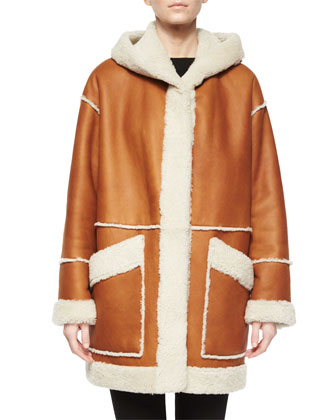 Hooded Leather Coat W/ Shearling Fur Trim