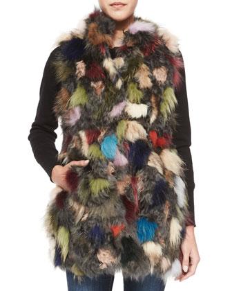Multicolored Patchwork Lamb & Fox Fur Vest