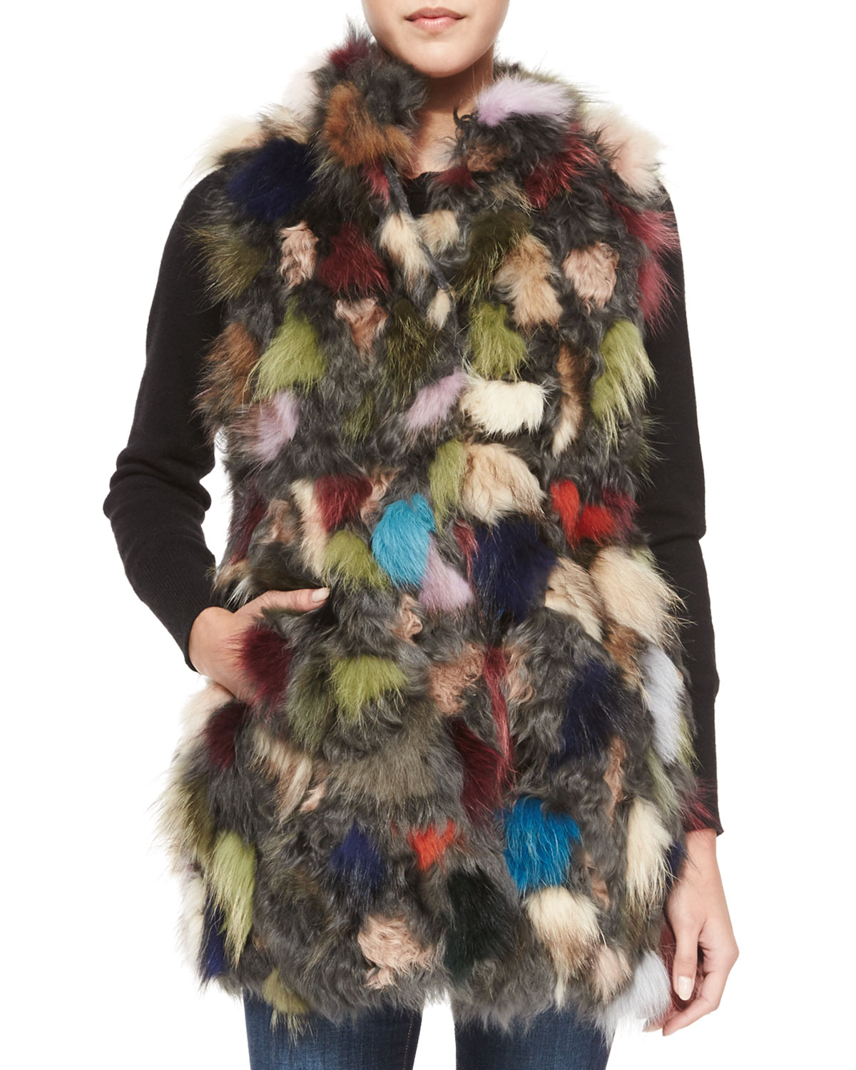 Multicolored Patchwork Lamb & Fox Fur Vest, Size: SMALL, DARK GREY - Goes