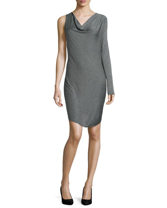 Cowl-Neck Dress with One Sleeve, Charcoal Heather