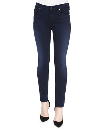 Faded Mid-Rise Skinny Jeans, Lux Rich Blue