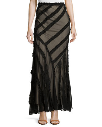 Long Skirt with Frayed-Stripe Detail, Black