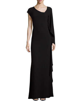 One-Sleeve Asymmetric-Neck Gown, Black