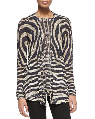 Tiger-Print Open Cardigan
