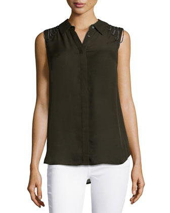 Sleeveless Blouse with Shoulder-Chain Detail, Dark Military