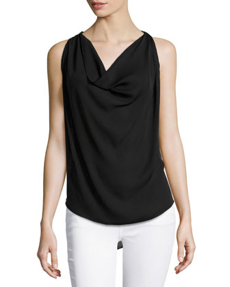 Sleeveless Embellished-Back Blouse, Black/Swan