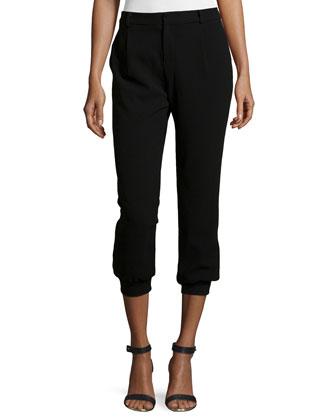 Cropped Jogger Pants, Black
