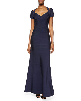 Open-Shoulder Bandage Gown, Pacific Blue