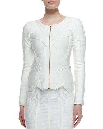 Origami Zip-Front Jacket, Off-The-Shoulder Bandage Top & Bandage Knit ...