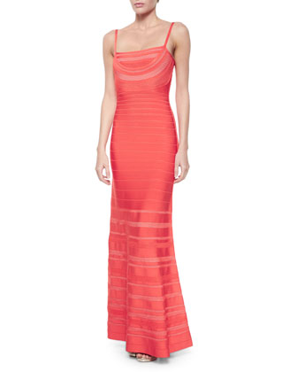 Lattice-Inset A-Line Bandage Gown, Coral