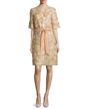 Half-Sleeve Floral-Applique Coat, Gold