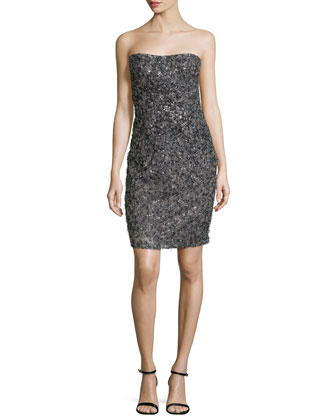 Strapless Embellished Sequin Dress, Granite